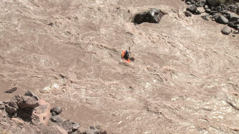 High angle view of person white water kayaking Stock Video Footage