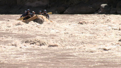 Rapids and group of people white water rafting Stock Video Footage