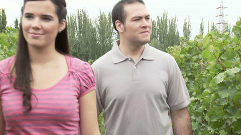 Couple walking through vineyard Stock Video Footage