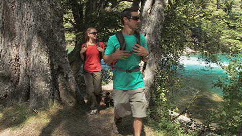 Couple hiking through forest by lake Stock Video Footage
