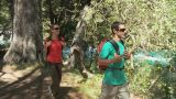 Couple hiking through forest by lake Footage