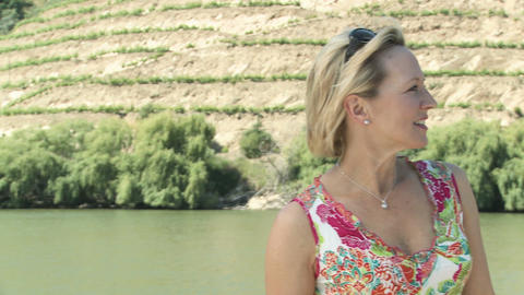 Mature woman on a boat holiday Stock Video Footage