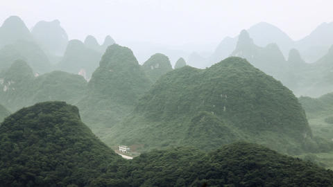 China, yangshuo, karst landscape, left to right pan Live Action