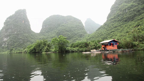 China, yangshuo, view from boat on yulong river Stock Video Footage