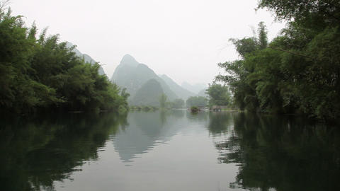 China, yangshuo, yulong river and landscape Live Action