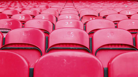 Red seats in empty stadium Stock Video Footage