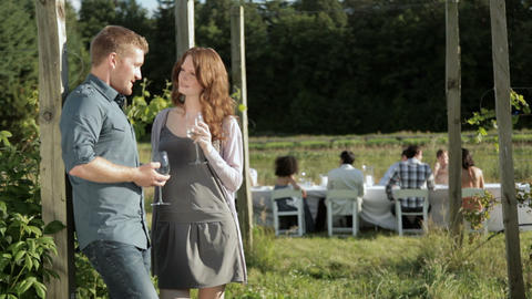Young couple away from group at farm dinner party Stock Video Footage