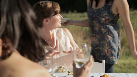 Young woman handing meal to people at outdoor dinner... Stock Video Footage