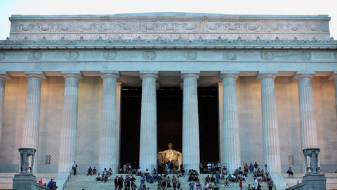 Tourists taking pictures at lincoln memorial Stock Video Footage