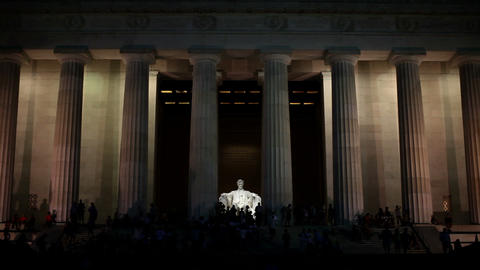Lincoln memorial illuminated at night Stock Video Footage
