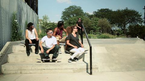 Skateboarders at skatepark Stock Video Footage