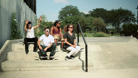 Skateboarders at skatepark Stock Video Footage