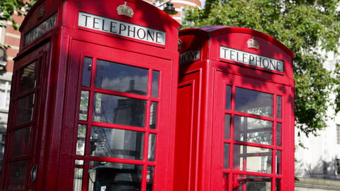 Red telephone boxes, London Stock Video Footage