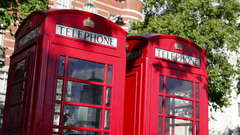 Red telephone boxes, London Footage