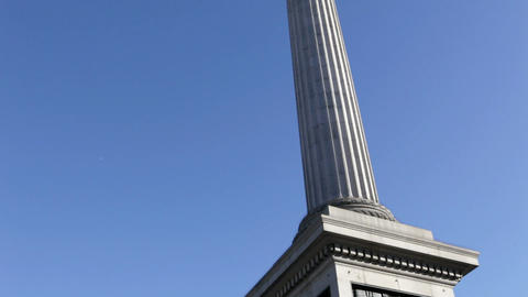 Lion statue and Nelson's column, London Stock Video Footage