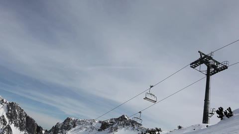 Ski lifts in ski resort Stock Video Footage