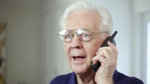 Senior man on cellphone Stock Video Footage