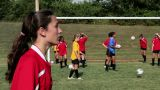 Girl soccer player heading the ball Footage
