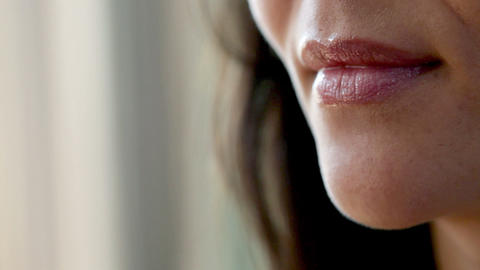 Close up of woman applying lip gloss Stock Video Footage