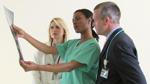 Colleagues discussing medical scan Stock Video Footage