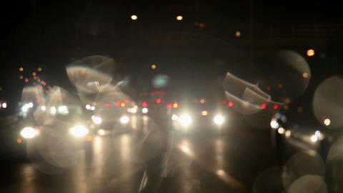 View from car of traffic at night Stock Video Footage