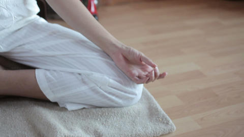 Women in lotus position Stock Video Footage