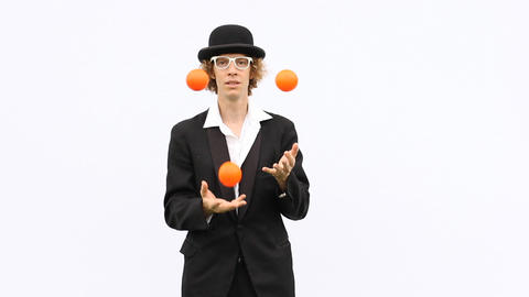 artist skill perform juggle show throw balls clown... Stock Video Footage