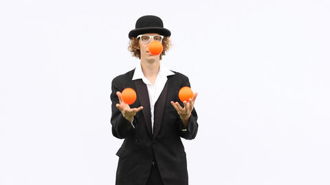 artist skill perform juggle show throw balls clown performance magic acrobatic Footage