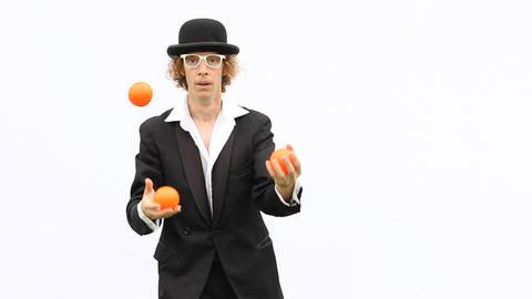 artist skill perform juggle show throw balls clown performance magic acrobatic Footage