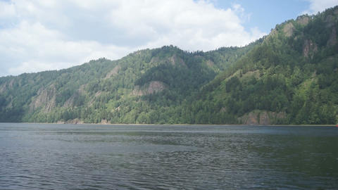 Mountainous coast of the river Yenisei 01 Stock Video Footage