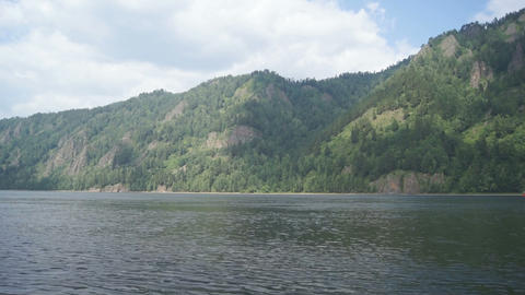 Mountainous coast of the river Yenisei 01 Stock Video Footage