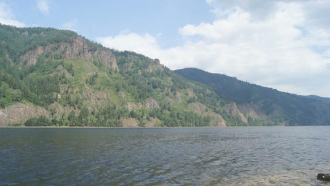 Mountainous coast of the river Yenisei 03 Stock Video Footage