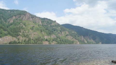 Mountainous coast of the river Yenisei 03 Stock Video Footage
