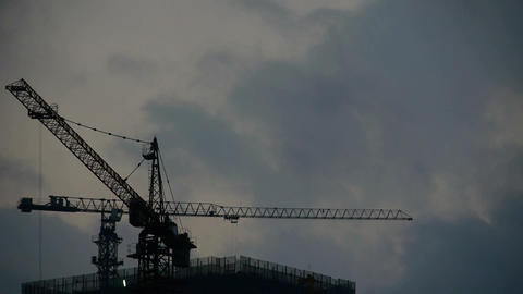 Dark clouds cover sky at night,building high-rise,House... Stock Video Footage
