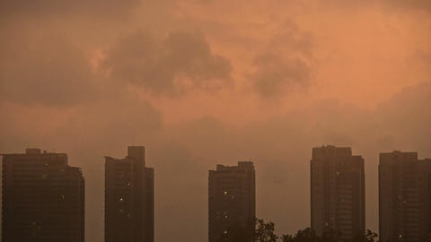 Sandstorm,Dark clouds cover sky at evening,building high-rise,House silhouette,s Footage