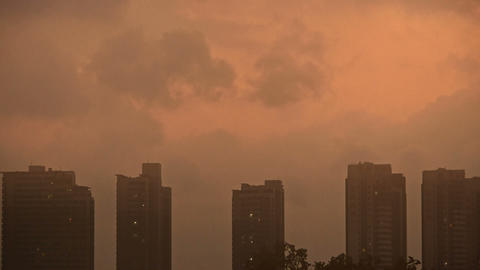 Sandstorm,Dark clouds cover sky at evening,building... Stock Video Footage