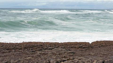 Big Ocean Waves Breaking on Rocks, storm weather Footage