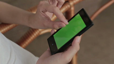 Woman Hands Touching, Scrolling, Zoom In, Zoom Out Smartphone.green Screen Displ stock footage