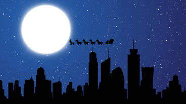 Skyscraper Buildings Flying Reindeer And Flying Santa Sleigh By Reindeer Over Ci stock footage
