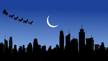 Santa Half moon City and Flying Santa sleigh by reindeer over city After Effects Project