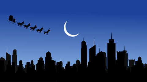 Santa Half moon City and Flying Santa sleigh by reindeer over city After Effects Template