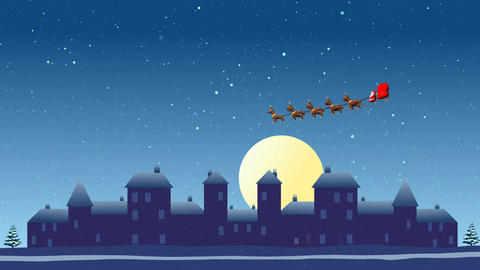 Snowfall City and Flying Santa sleigh by reindeer over city After Effects Template