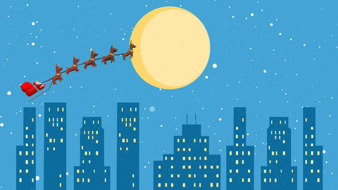 Snowfall with Flying Santa sleigh by reindeer over city After Effects Template