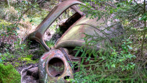 Car Dump Kirkoe Mosse In Ryd, Sweden stock footage