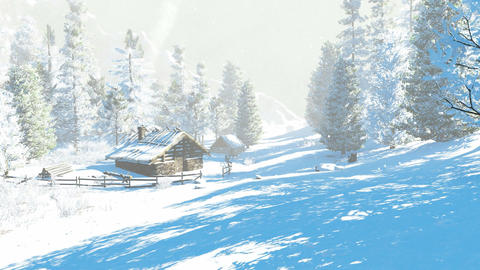 Little hut in the snowy mountains at winter day Footage