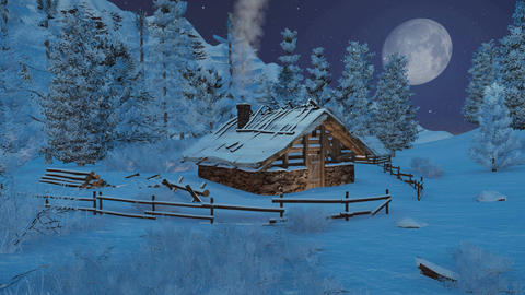 Little cabin in mountains at snowfall night Footage
