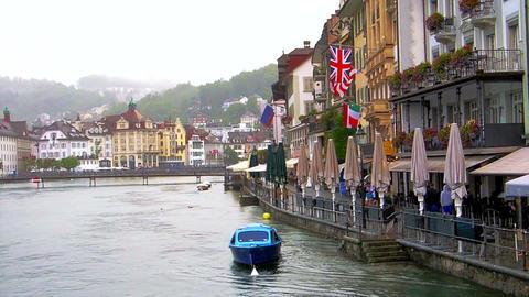 LUCERNE, SWITZERLAND - July 2013 - View around Lucern Switzerland in rainy day Footage