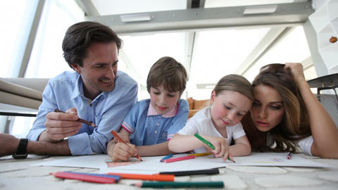 Parents drawing with children Footage