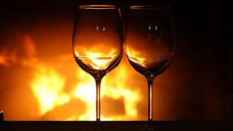 Wine Glasses Near Fireplace stock footage