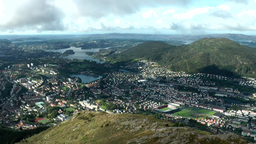 Norway City of Bergen 089 fantastic view in valley with town from top of Ulriken Footage